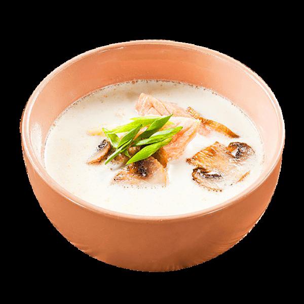 Суп сливочный с лососем и грибами